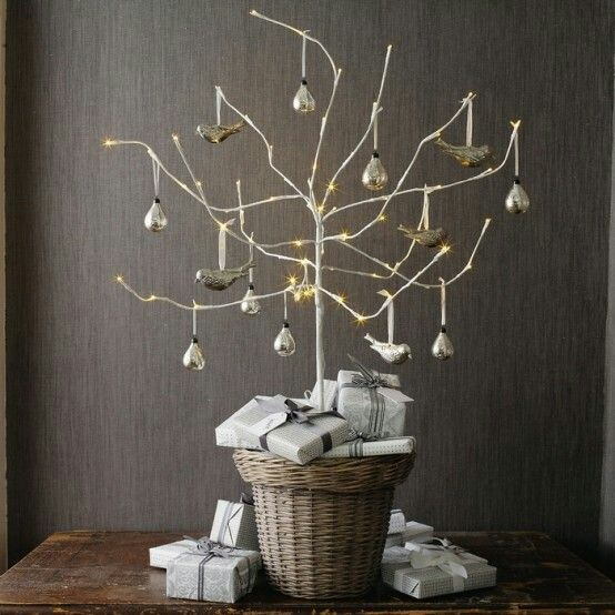 Pre lit twig tree...For the kitchen