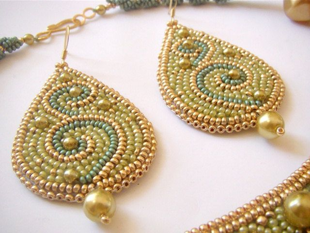 Bead embroidered drop earrings