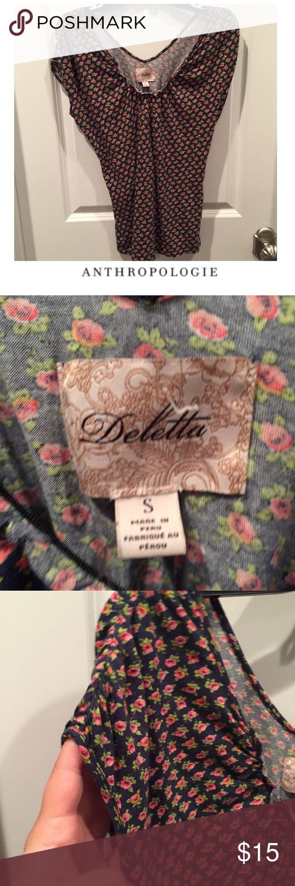 "Anthropologie Deletta Pink Flower Navy Tee Anthropologie Deletta Pink Flower Back Button Navy Tee. Bust is hard to measure because Dolman Sleeve, but is approx 17"". 25"" long. Gently worn. Great condition. Feel free to make an offer or bundle & save! Anthropologie Tops Tees - Short Sleeve"