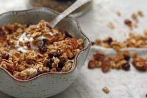 Nutty MAPLE GRANOLA adapted from The Food You Crave  Servings: 9  Cooking Spray  3 cups old-fashioned oats  1/2 cup chopped unsalted walnuts  1/2 cup chopped unsalted almonds  1/2 cup chopped unsalted pecans  1 cup maple syrup  1/4 teaspoon salt  1/4 teaspoon ground cinnamon  1/2 cup dried cranberries  Preheat the oven to 300 degrees F.