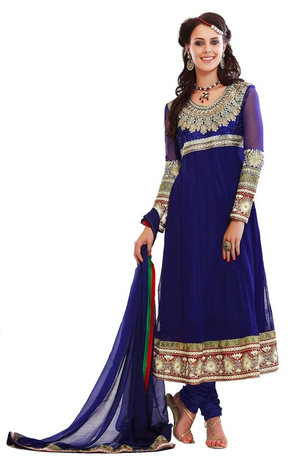 Blue resham adorned net churidar suit Fabric - Net Color - Blue  http://valehri.com/salwar-kameez/795-blue-resham-adorned-net-churidar-suit.html
