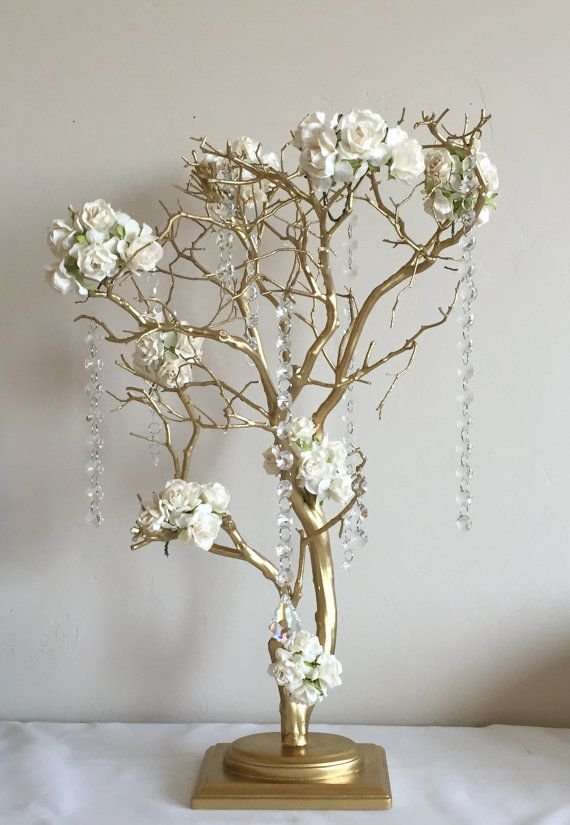 Copper painted manzanita tree wedding centerpiece