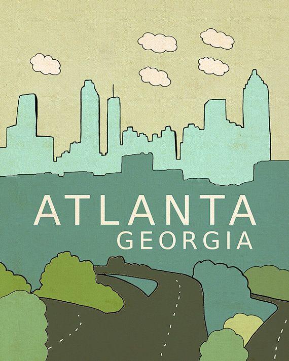 City Skyline Nursery Wall Art Atlanta Georgia By LisaBarbero, $20.00