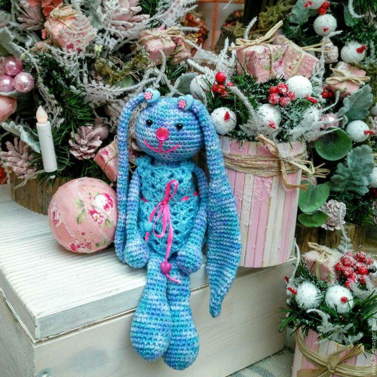 Купить Зайка. Синяя в платье. - зайка, заяц, зайчик, игрушка в кроватку, игрушка в одежде