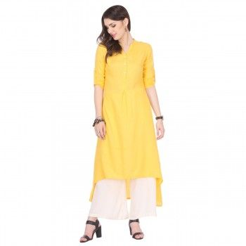 Rayon Yellow Plain Stitched Kurti With Palazzo - W16101037