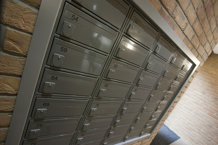 A close up shot of the stunning fire rated mailboxes used in the Waterside project.