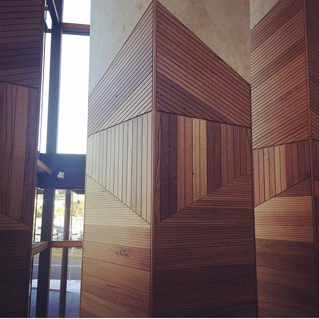 Nice Use Of Timber Cladding On A Column Geometric
