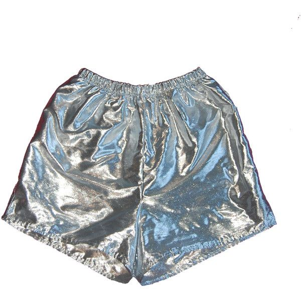 Silver High Waist Shorts Sea Punk Mirror Shiny Reflective Cyber... ($46) ❤ liked on Polyvore featuring shorts, bottoms, punk shorts, silver shorts, elastic high waisted shorts, high-waisted shorts and highwaist shorts