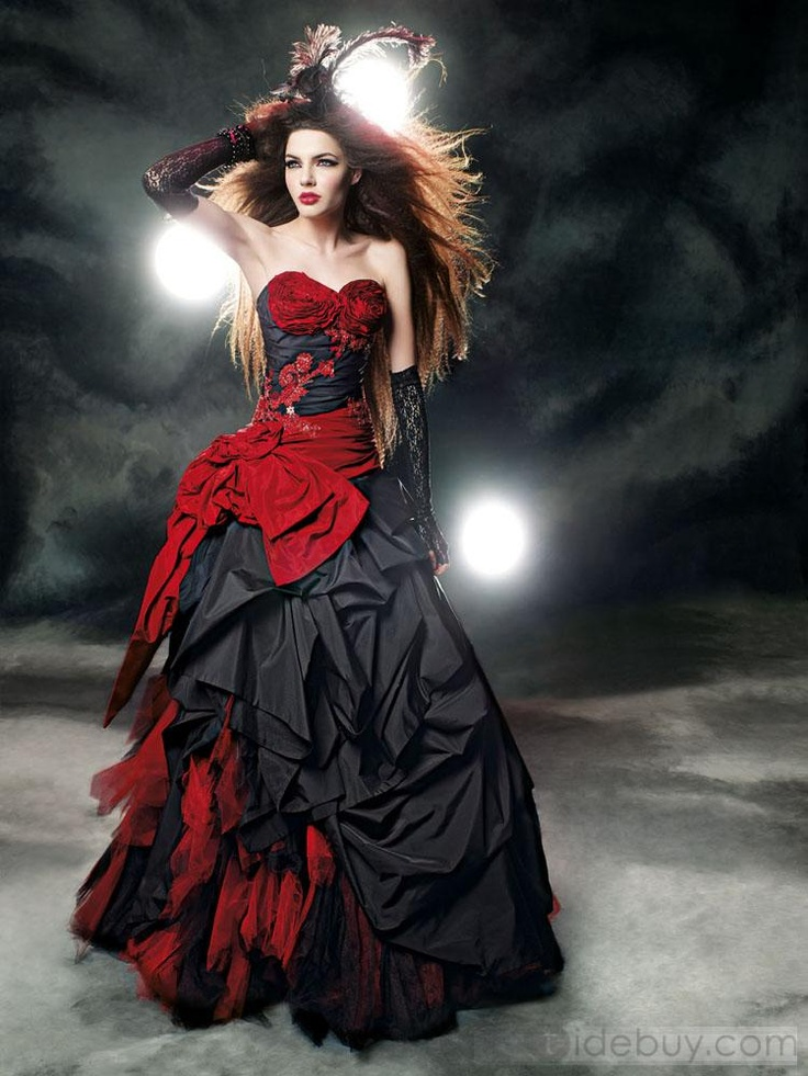 Gothic wedding dresses white with red