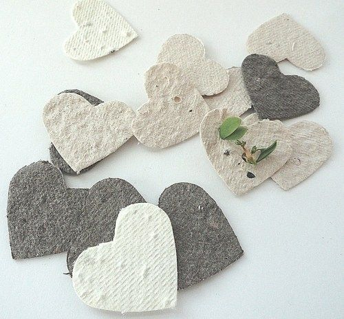 Make homemade seed paper as party favors or to go with wedding invitations. Guests plant the paper in dirt, and the plants will grow.