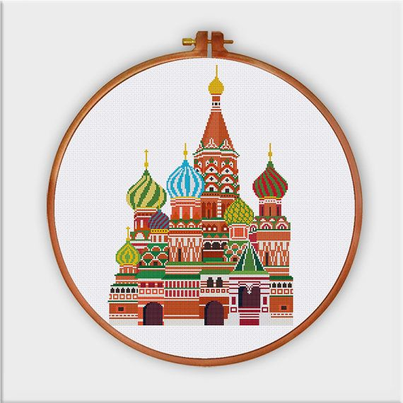 St Basils Cathedral cross stitch pattern| Russia Moscow love travel symbol landmark cross stitch chart| Fairy castle counted cross stitch