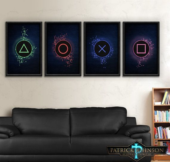 Playstation, One, Two, Three, Four, PS1 Type, PS2, PS3, PS4, Sony Playstation Buttons Print Set #buttons #playstation #print,