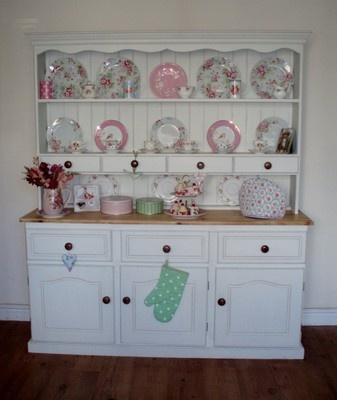 Large shabby chic painted pine dresser. For sale on eBay. UK delivery available. #kitchen dresser #hutch #shabby chic