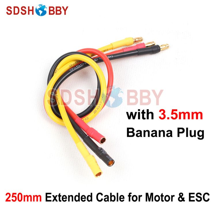 Motor U0026 ESC Extended Cable 14AWG Silicone Cable 250mm Extension Cable Wire  With 3.5mm Banana Photo