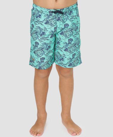 Bermuda kids verde turquesa e azul marinho