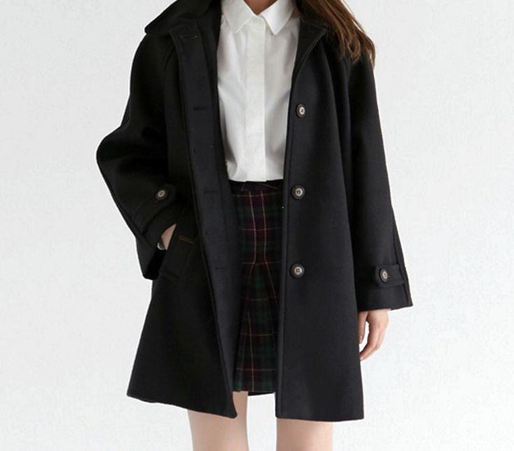 Korean fashion - white blouse, plaid skirt and black trench coat