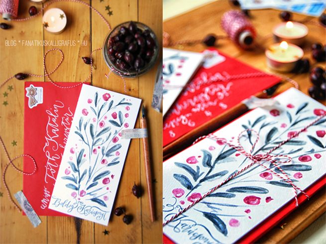 Berry Christmas Card by The Fanatic Calligrapher printable .pdf available on our blog:  http://blog.fanatikuskalligrafus.hu/2013/12/karacsonyi-meglepetes-gyertyafennyel.html  https://www.facebook.com/fanaticcalligrapher