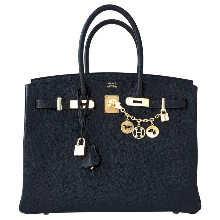 Hermes Birkin Bag Black Epsom Gold Hardware