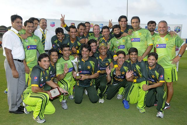 West Indies v Pakistan 5th ODI: The Pakistan team celebrate their 3-1 series win over the West Indies.