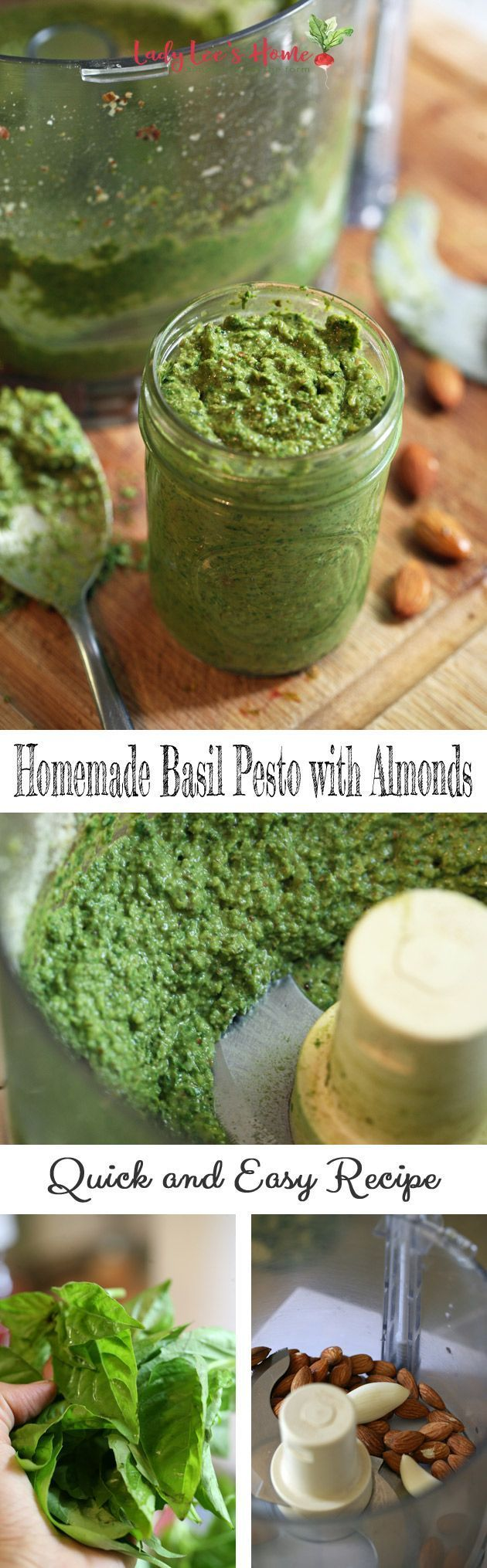 We have a lot of basil in the garden this year, so I am making pesto! We eat it fresh or I freeze it for later. Here is an easy recipe that uses almonds instead of pine nuts to make it more affordable. #LadyLeesHome #Pesto #healthyfood #easyrecipes #basil