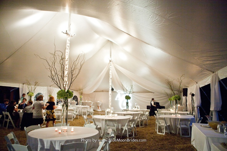 Ideas for wrapping tent poles in lights and tulle Bridal Stuff
