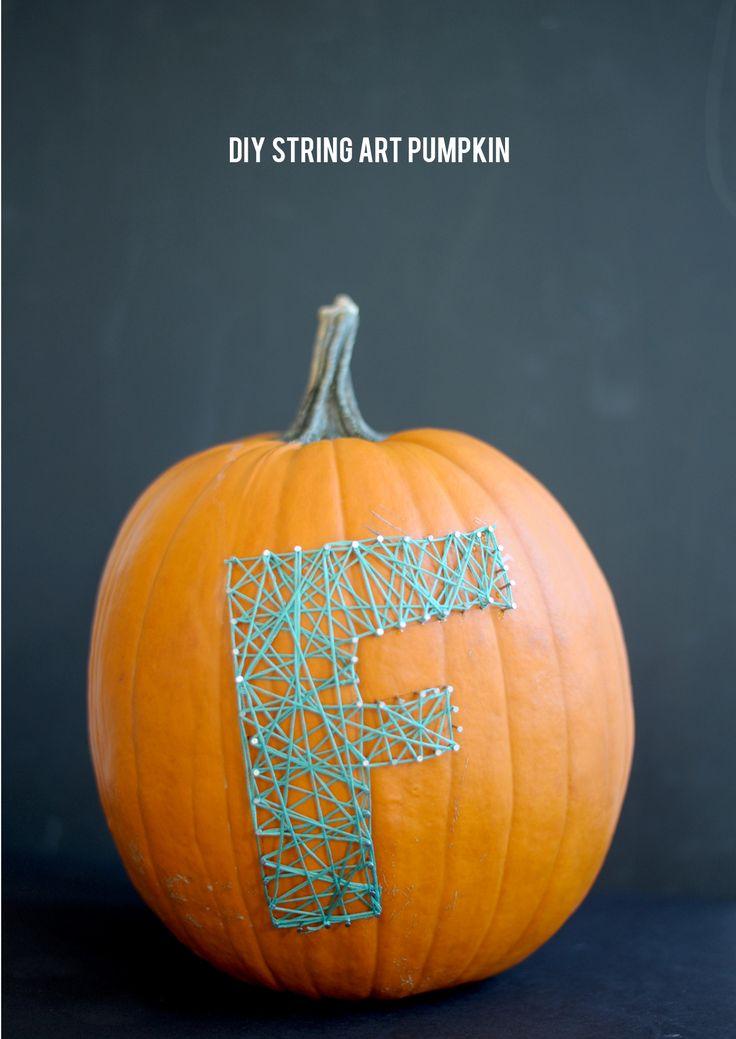 ハロウィーンのために、この単純な文字列芸術初期カボチャを試してみてください
