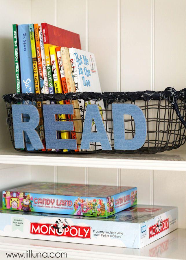 Bookshelf styling tips & DIY Make Market Book Basket