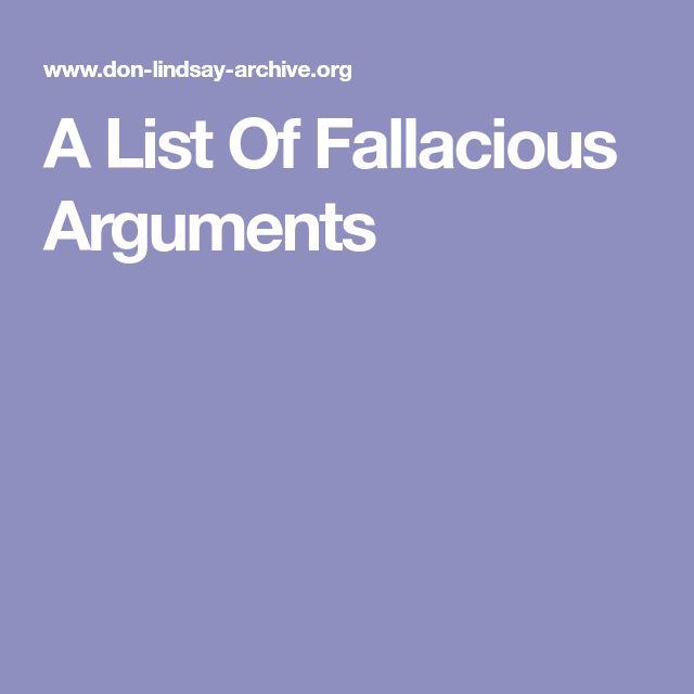A List Of Fallacious Arguments