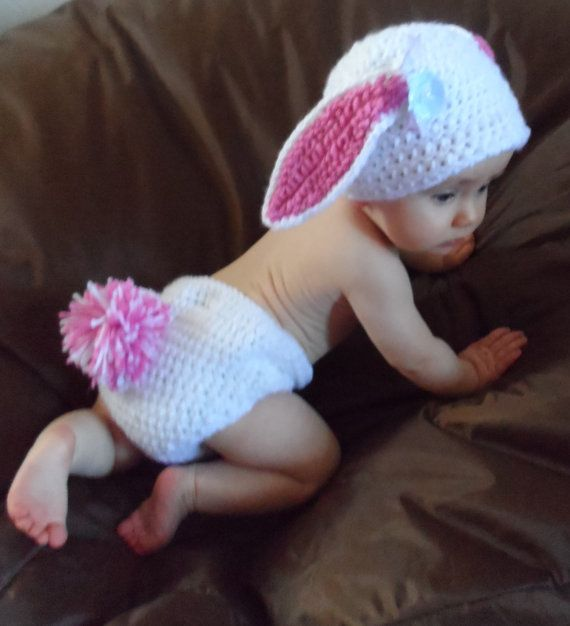 Baby Photo Prop/ Easter Bunny Rabbit by LightsCameraCrochet