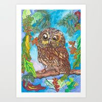 Art Print featuring Saw-Whet Owl by Juliana Kroscen