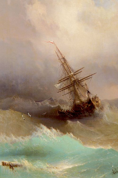 Author - Ivan Aivazovsky - Ship in the Stormy Sea, 1887