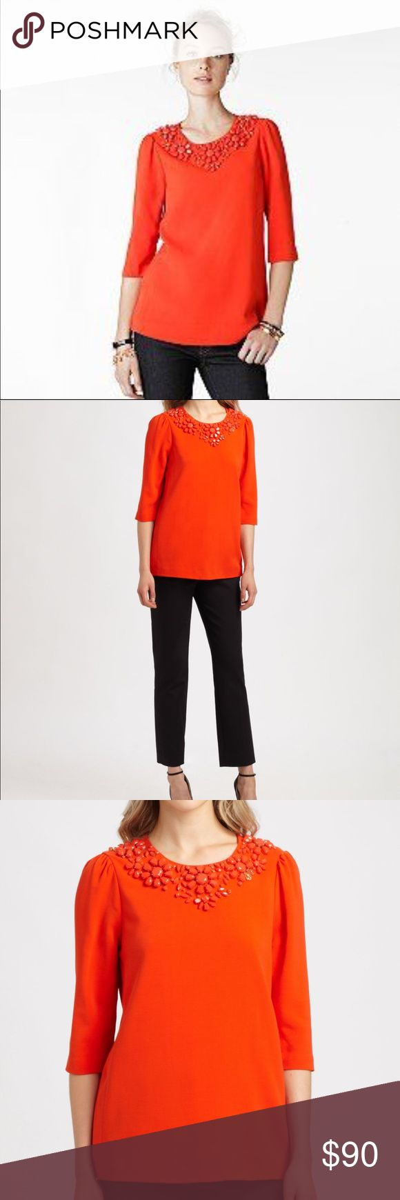 NWT Kate Spade Orange Stretch Embellished Blouse New with Tags Kate Spade Vanessa Top. Orange-Red with beautiful embellishment and gold zipper on back. This material is stretchy so you could size up (12) and still be okay. Material is spandex and lycra. kate spade Tops Blouses