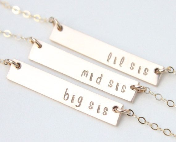 Sister Necklaces for 3 / Big Sister Middle von DaintyLayersJewelry