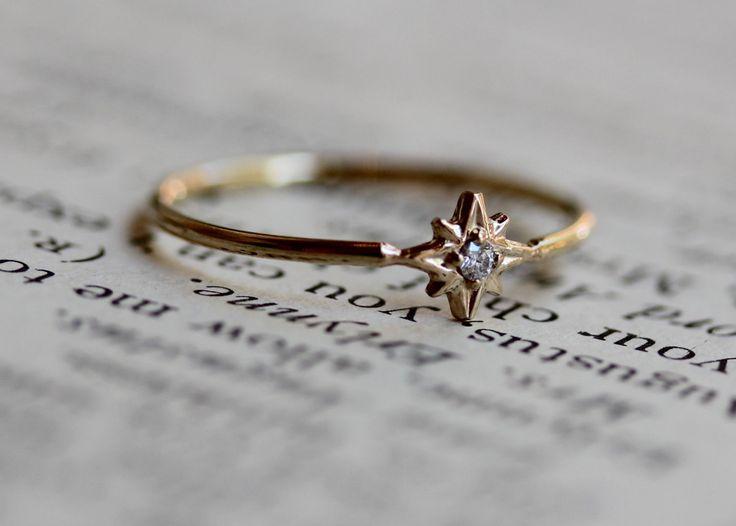 "14K Gold Diamond Ring, ""North Star"" Ring, Astrology Ring, Engagement Ring, Dainty Engagement Ring, Promise Ring, Diamond Ring, Dainty Ring"