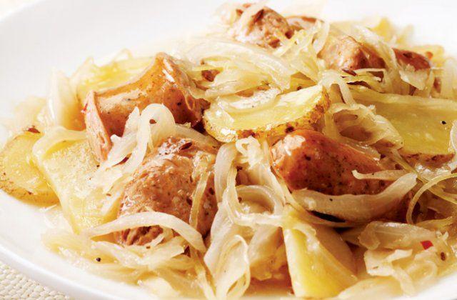 Chicken sausage with potatoes and sauerkraut recipe   Nourish magazine Australia