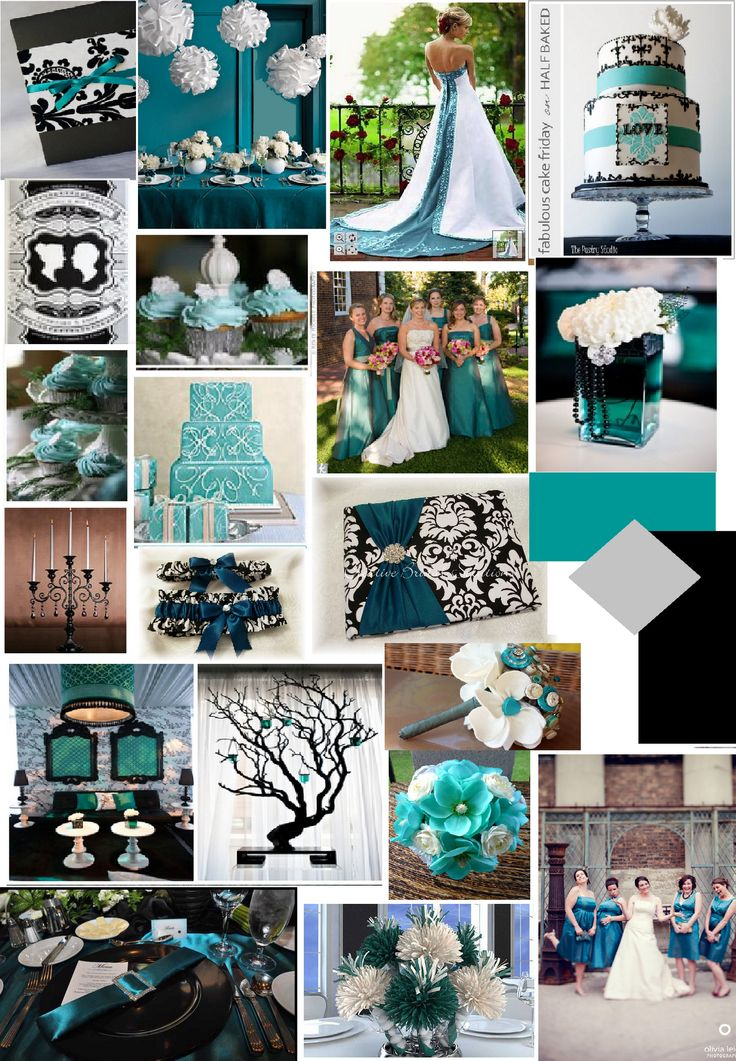 Teal Black and White wedding...just love the teal