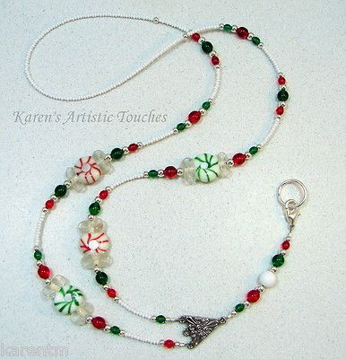 Red Candy Christmas Holiday Beaded Lanyard ID Holder