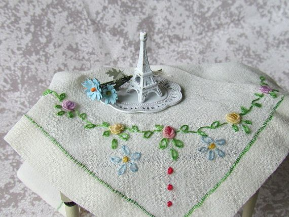 Dollhouse Accessory Shabby Chic Decor Eiffel Tower with flowers 12th Scale Dollhouse Accessory
