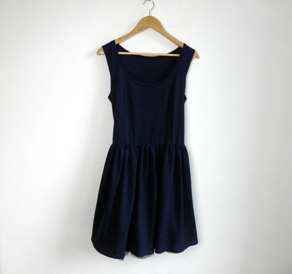 navy summer dress with tulle petticoat dark blue cotton by kapotka, $39.00