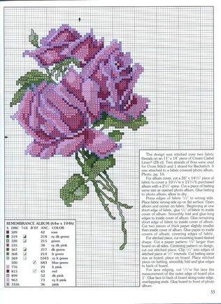 cross-stitch purple roses