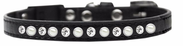 Pearl and Clear Jewel Breakaway Cat Collar Black by Mirage