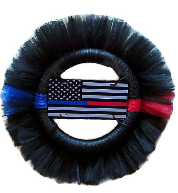 """Thin Blue/Red Line American Flag Tulle Wreath (Police/ Firefighter Support) 26"""", Man Cave, Birthday Gift, Fire Station, Police Station"""