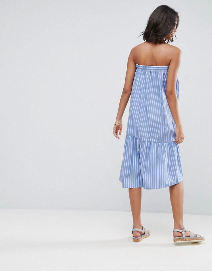 ASOS Bandeau Dress in Cotton Stripe with Tiered Hem - Multi