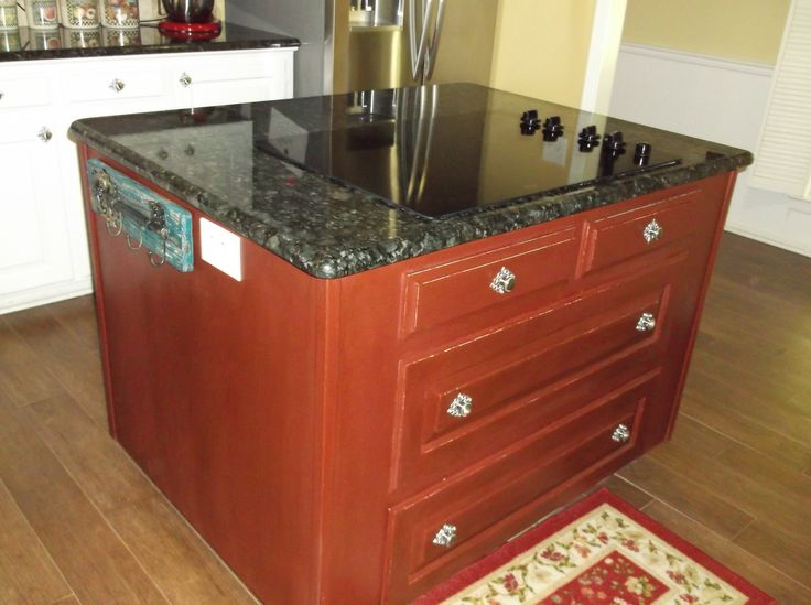 Annie Sloan Chalk Paint Primer Red Painted Kitchen Island With Butterfly  Verde Granite, Wood Tile