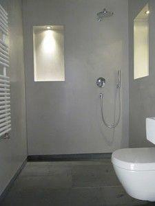 Beton Ciré badkamer tegels vloer cire op muren douchecabine met tegels