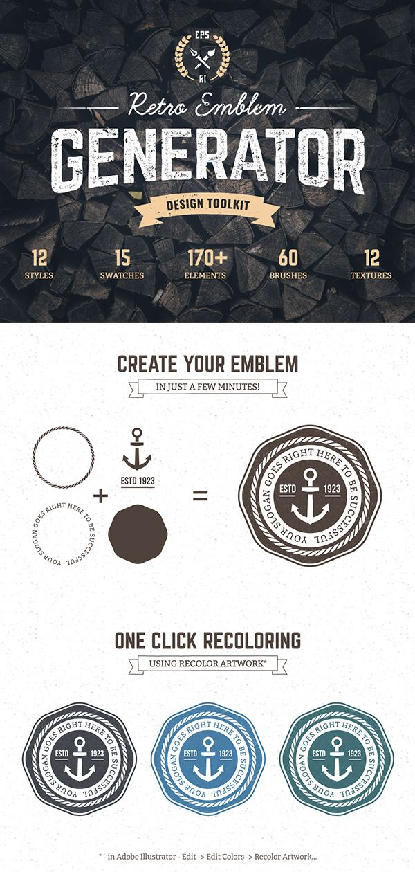 Logo Maker | Retro Emblem Generator | Badges, Stickers, Logo