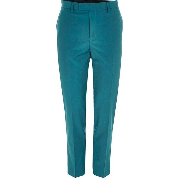 River Island Teal blue skinny fit suit trousers ($44) ❤ liked on Polyvore featuring men's fashion, men's clothing, men's pants, men's dress pants, suits, mens skinny pants, mens skinny suit pants, mens skinny dress pants, mens teal pants and mens tall pants