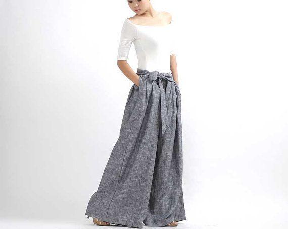 Wide Leg pants  linen trousers in gray 308 by xiaolizi on Etsy, $79.00