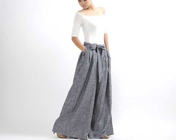 Wide Leg Linen Pants - Gray Chambray Pleated Trousers with Sash Tie A Belt, palazzo pants, wide leg trousers, maxi pants (308)
