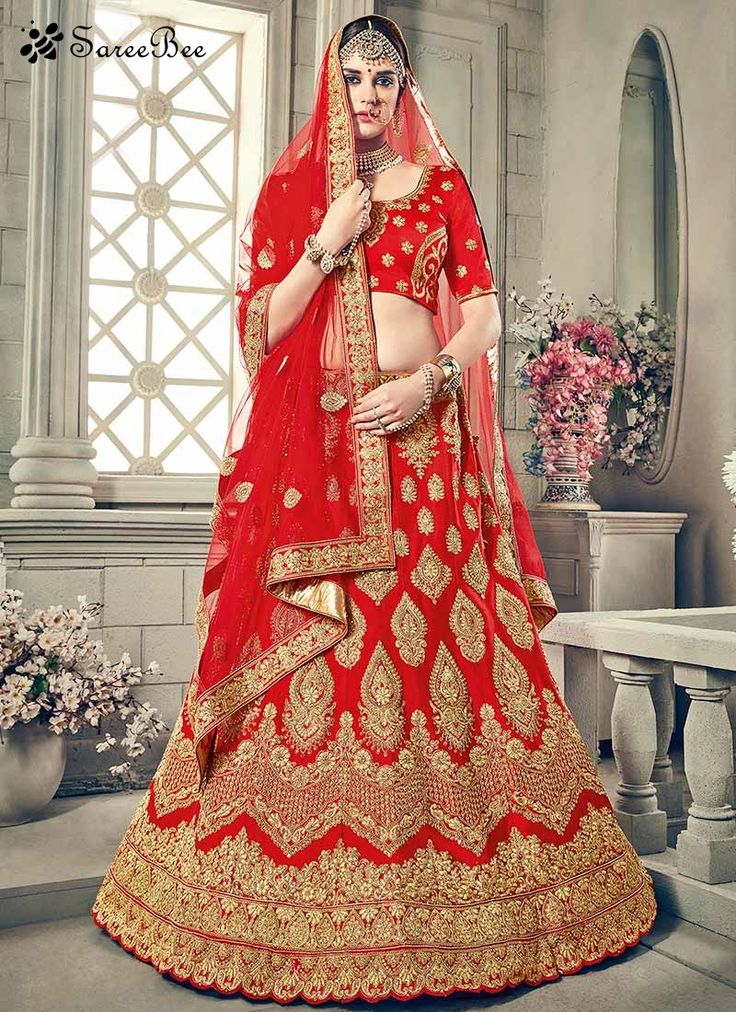 Brilliant Red Patch Border Work Lehenga Choli  Bring out the true diva in you and reinvent your true self. Attract compliments by this red art silk lehenga choli. This attire is encrafted with embroidered, patch border, resham and zari work. Comes with matching choli and dupatta.